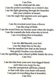 Written in Memory of my sweet and beautiful friend, Free aka Free-Girl